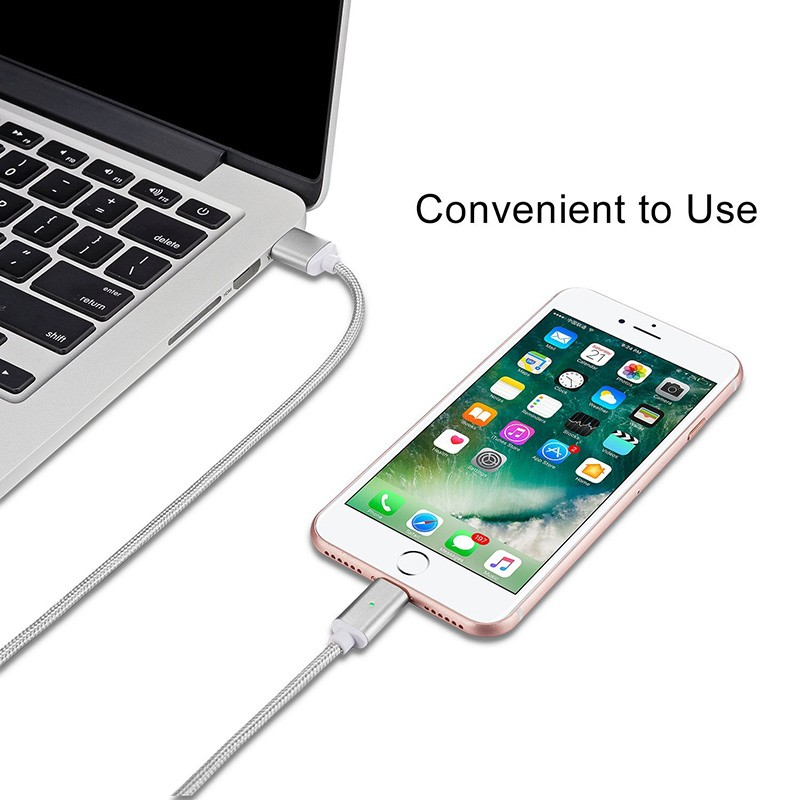 "Магнитный шнур-зарядка ""Elough "" 3 в 1 с индикатором на три коннектора (Android, Iphone, USB 3.1), фото 4"