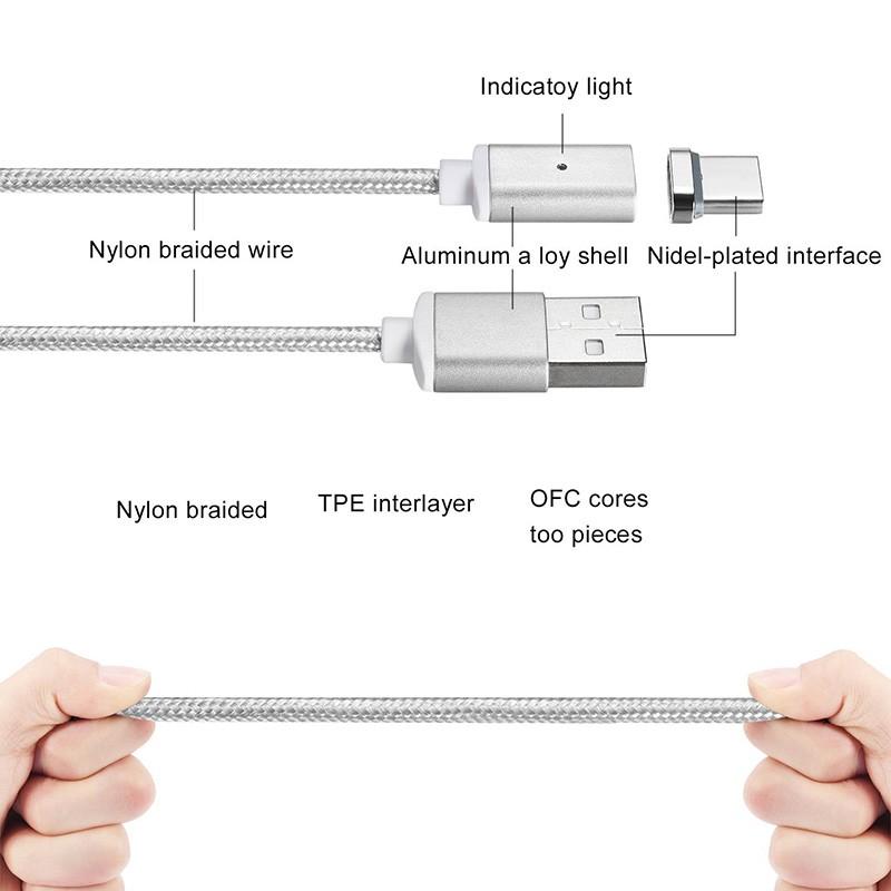 "Магнитный шнур-зарядка ""Elough "" 3 в 1 с индикатором на три коннектора (Android, Iphone, USB 3.1), фото 3"