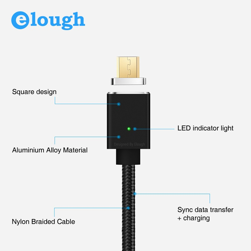 "Магнитный шнур-зарядка ""Elough "" с индикатором на Android, фото 5"