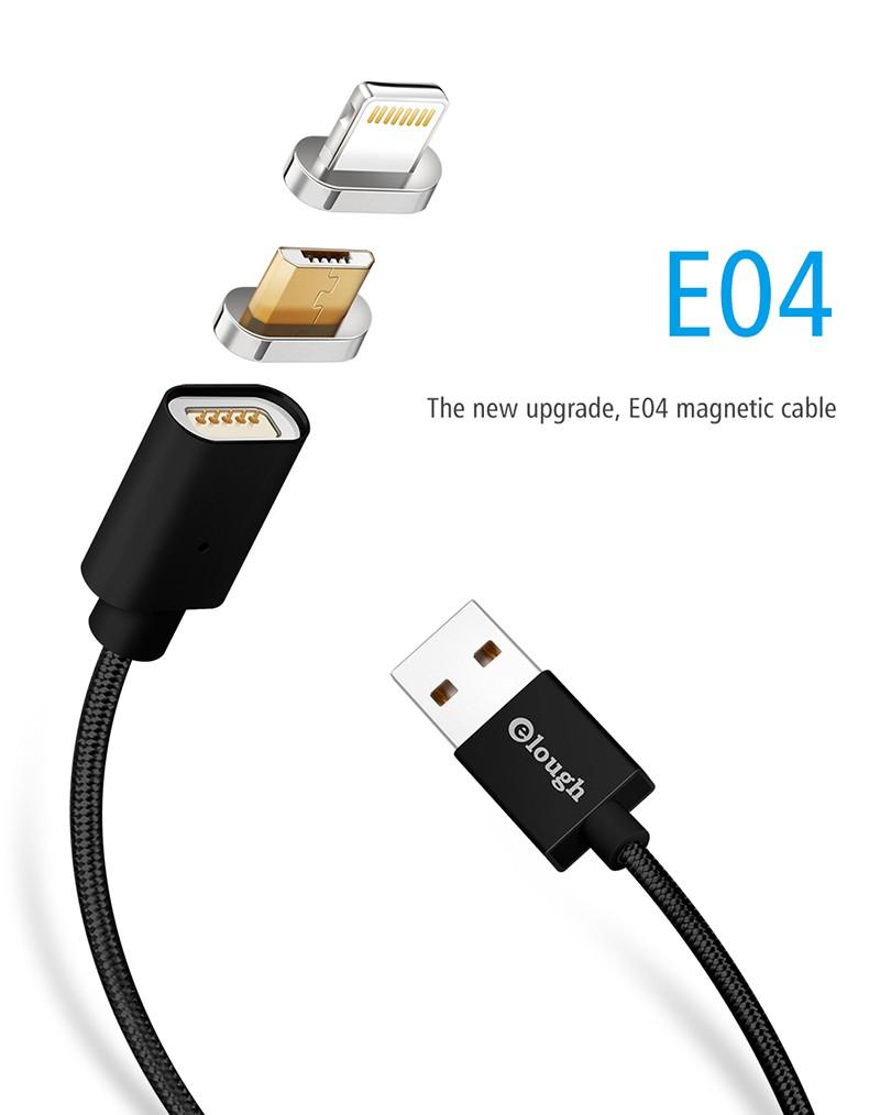 """Магнитный шнур-зарядка """"Elough """" 2 в 1 с индикатором на два коннектора (Android, IOS), фото 1"""