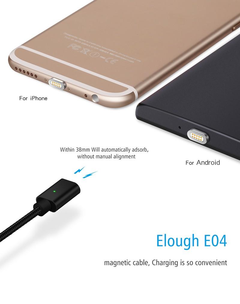 """Магнитный шнур-зарядка """"Elough """" 2 в 1 с индикатором на два коннектора (Android, IOS), фото 2"""