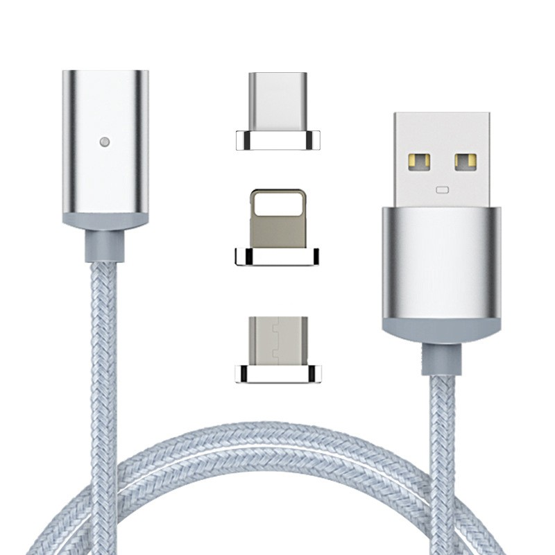 "Магнитный шнур-зарядка ""Elough "" 3 в 1 с индикатором на три коннектора (Android, Iphone, USB 3.1), фото 1"