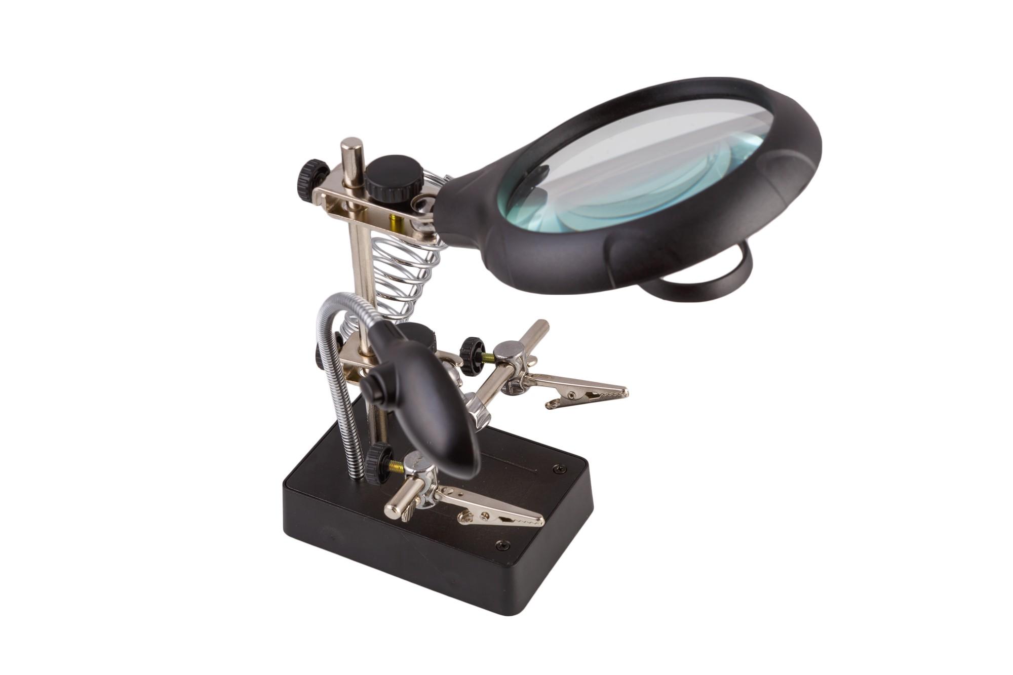 Лупа-зажим «Третья рука» MG16129 с LED подсветкой, фото 2