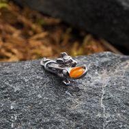 """Сувенир кошельковый """"Мышка с ложкой"""", латунь, янтарь, фото 1"""
