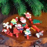 Декоративные новогодние прищепки, набор 6 шт, фото 1