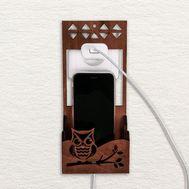 Органайзер деревянный для телефона на розетку «Совушка», фото 1
