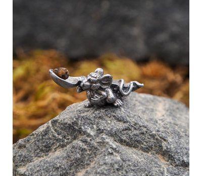 """Сувенир кошельковый """"Мышка с ложкой"""", латунь, янтарь, фото 2"""