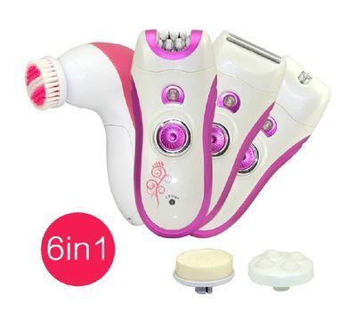Набор для удаления волос 6 в 1 ( эпилятор+массажная щетка для лица) KM 3066 , фото 1