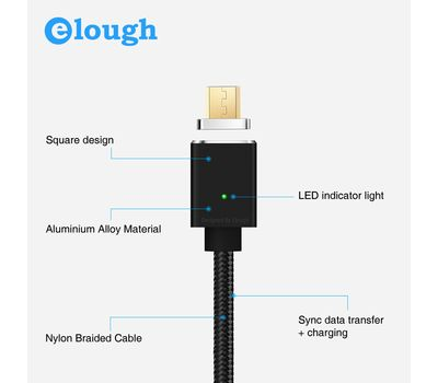 "Магнитный шнур-зарядка ""Elough "" с индикатором на Android , фото 5"