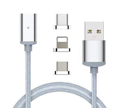 "Магнитный шнур-зарядка ""Elough "" 3 в 1 с индикатором на три коннектора (Android, Iphone, USB 3.1) , фото 1"