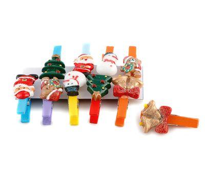 Набор декоративных новогодних прищепок (10 штук), фото 2