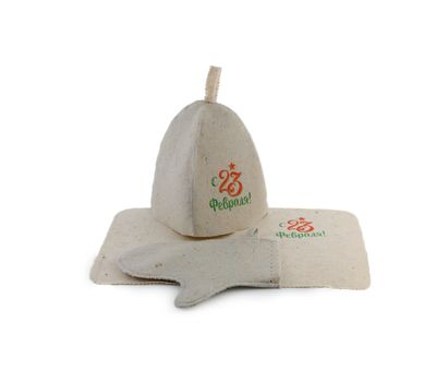Банный набор с «23 февраля» (Шапка, коврик, рукавица), фото 1