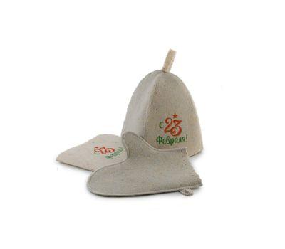 Банный набор с «23 февраля» (Шапка, коврик, рукавица), фото 2