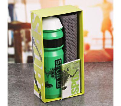 Полезный набор для фитнеса (бутылка для воды, полотенце, блокнот), фото 2