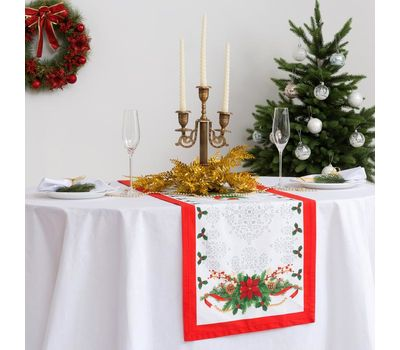 """Дорожка на стол """"Рождественский балл"""" размер 40 х 147 см, фото 2"""