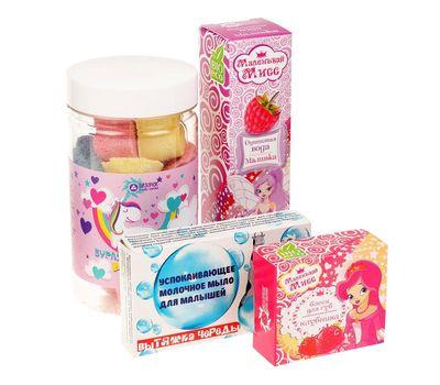 Новогодний набор «Маленькая леди»: бальзам для губ, душистая вода, бурлящие сердечки, мыло, фото 2