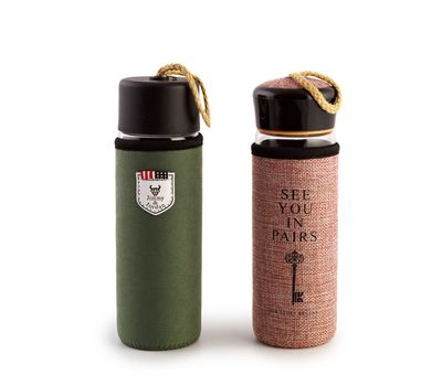 Стеклянная бутылка для воды в чехле, фото 1