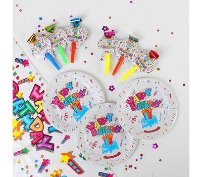 Набор для праздника «С днём рождения!», скатерть 180*108 см, 6 тарелок 18 см, 6 язычков, фото 1