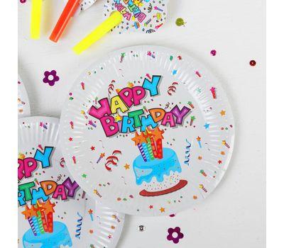 Набор для праздника «С днём рождения!», скатерть 180*108 см, 6 тарелок 18 см, 6 язычков, фото 2
