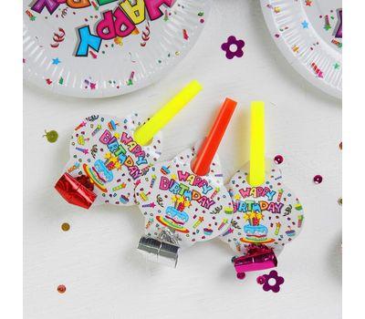 Набор для праздника «С днём рождения!», скатерть 180*108 см, 6 тарелок 18 см, 6 язычков, фото 3