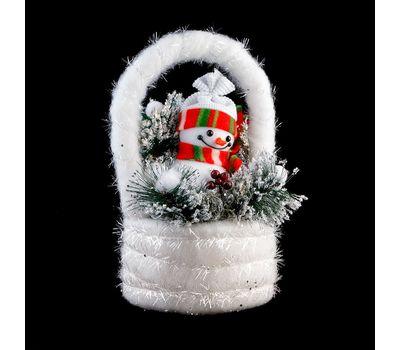 "Композиция для декора ""Снеговик в корзинке"", фото 1"