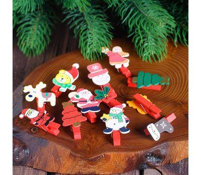 Декоративные новогодние прищепки, набор 6 шт, фото 2