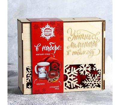 Новогодний набор «Уютных моментов» (плед 75×100 см, кружка 300 мл, мёд 130 г), фото 1