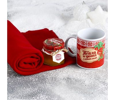 Новогодний набор «Уютных моментов» (плед 75×100 см, кружка 300 мл, мёд 130 г), фото 3