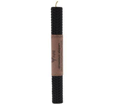 Свеча из чёрной вощины с полынью «Огненный оберег» высота 20 см, фото 1