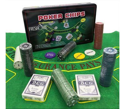 Покерный набор в жестяном кейсе на 300 фишек с сукном, фото 1