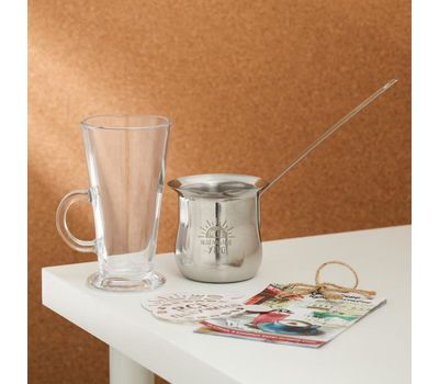 Набор «Моё идеальное утро»: турка 330 мл, стакан 300 мл, трафареты 2 шт, фото 2