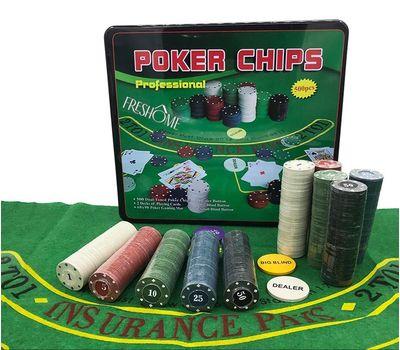 Покерный набор в жестяном кейсе на 500 фишек с сукном, фото 1
